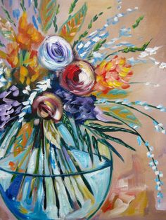 Devotion -- Abstract impressionism floral flower painting. This is should be Fun! www.hartparty.com