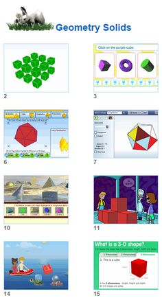 Math Geometry Solids - Cubes Cylinders Platonic Solids Puzzles and Games- activities for kids and their teachers from Johnnie's Math Page