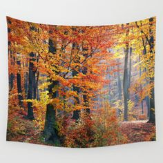 Colorful Autumn Fall Forest Wall Tapestry