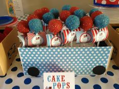 2nd birthday train themed party..... Cake pop favours
