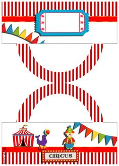 Um Kit de Aniversário com o tema circo, as medidas desse kit pode ser encontrada AQUI  e como redimensionar os personalizados do kit...