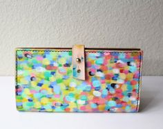 Pointilism wallet, Leather bifold wallet, hand painted leather wallet, leather wallet women, 3rd anniversary gift, leather gifts for her