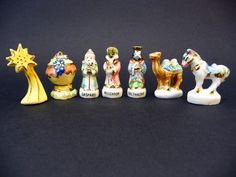 french feves nativity porcelain miniatures crib 7 characters