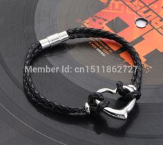 2015 New Listing Double Leather Braid Bracelet With Stainless Steel Heart Charm Bracelets & Bangles For Lovers' Hot SellingS12