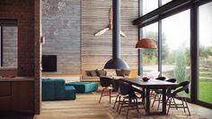 Un loft industrial con techos, suelos y muebles de madera|Espacios en madera