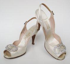 Vintage 50s Ivory Satin P Toe Slingback Bridal Wedding Day High Heels 7 5 8n