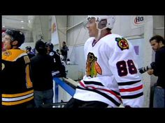 """Bauer 2010 Pro Camp Shootout """"Or throw everything in the air and start jumping like a little girl across the ice so all the boys chase ya'!"""" - Eric Staal chirping Patrick Kane"""