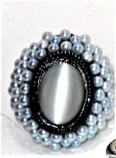 Cat's Eye Ring with glass Pearls in Black tone Stainless steel size 8 USA SELLER | Jewelry & Watches, Fashion Jewelry, Rings | eBay!