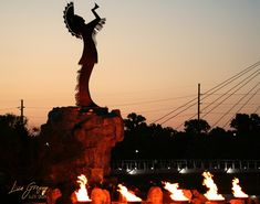 44ft steel Keeper of the Plains stands on a 30ft pedestal. Fire at the base and is located at the point where two rivers meet.