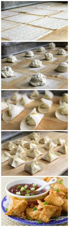 Crab Rangoon Wontons are super easy and cheap to make, and you'll have a huge pile of them to eat. Pepper jelly makes the best dipping sauce!