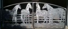 Driveway Gates with Custom Horses Silhouettes Plasma Cut by JDR Metal Art – Custom Driveway Gates