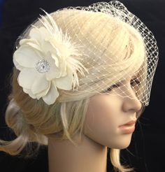Fascinator, or birdcage veil. Perfect for vintage or those who don't like the traditional veil!