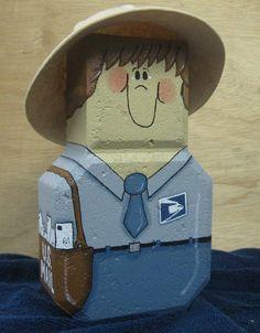 Postman Paver - cute sitting beside mailbox Painted Bricks Crafts, Brick Crafts, Tile Crafts, Concrete Crafts, Painted Stepping Stones, Painted Pavers, Paver Stones, Painted Rocks, Painting Concrete