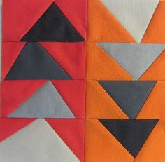 42 Quilts: Modern Monday - Block 18, wonky improv flying geese tutorial http://www.42quilts.com/2012/01/modern-monday-block-18.html