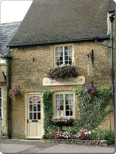 Cottage Tea Room, The Cotswolds, England - How quaint and such a stereotypical english country side tea room. Style Cottage, Cute Cottage, Cottage Homes, French Cottage, Cottage Gardens, Rustic Cottage, Shabby Cottage, Irish Cottage Decor, Brick Cottage