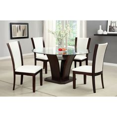 Timeless elegance combines with modern flair in this five-piece dining set from Gale. Your choice of black of white leatherette is framed by gorgeous dark-cherry finished wood, and the glass tabletop adds upscale-urban sophistication. Glass Round Dining Table, Dining Table Design, Dining Room Bar, Dining Table Chairs, Dining Room Furniture, Round Glass, White Furniture, Furniture Design, Vintage Furniture