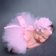 Baby Girl Tulle Tutu Skirt And Flower Headband Set For Newborn Photography Props