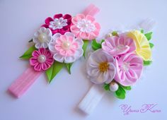 Cloth Flowers, Fabric Flowers, Diy Headband, Baby Headbands, Ribbon Hair, Hair Bows, Cute Cartoon Fish, Handmade Rakhi Designs, Kanzashi Flowers