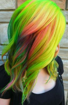 Green yellow multi color dyed hair color @theunicorntribe