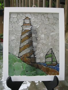 Lighthouse Sea Glass Mosaic by bmcseaglasscreations on Etsy