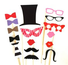 Photo Booth Props Party Pack Set of 16 Wedding Photo Booth Props Party Photo Props Decorations Party Supplies Masks Glasses Mustache. $19.95, via Etsy.