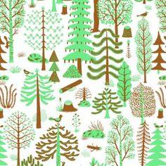Kauniste Metsa Green Finnish Fabric