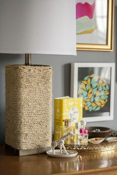 Transform an ugly lamp using hot glue and sisal rope!! See the Before/After here: http://wp.me/p3DBJU-6Pg