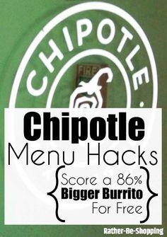 Chipotle Menu Hacks: How to Score a Bigger Burrito for Free Best Money Saving Tips, Money Tips, Saving Money, Money Savers, Frugal Living Tips, Frugal Tips, Save Money On Groceries, Ways To Save Money, Chipotle Menu