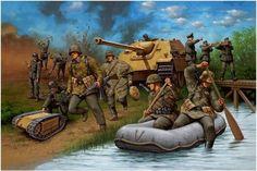 Jagdpanther apoyando a unos Sturmpioniere con un Goliath Diesel, Tank Warfare, Military Drawings, Ww2 History, German Army, Luftwaffe, Military Art, World War Two, Military Vehicles