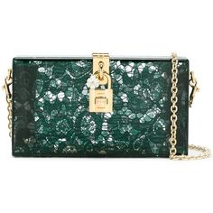 Dolce & Gabbana \'Dolce\' Box Clutch ($1,955) ❤ liked on Polyvore featuring bags, handbags, clutches, transparent purse, genuine leather handbags, green purse, green leather handbag and leather clutches