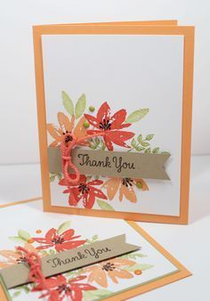 How to make a easy thank you card video tutorial with Stampin' Up! Avant Garden 143272 FREE Sale-a-bration stamp set