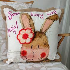Some Bunny Very Special Cushion By Alex Clark - A Bentley Cushions Jute, Bunny, Cushions, Throw Pillows, Classic, Derby, Cute Bunny, Toss Pillows, Toss Pillows