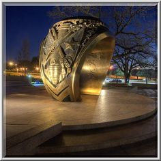 ★★~ Aggie ring sculpture at a corner of George Bush Drive and Houston Street at dusk on campus of Texas A University. ~★★~ College Station, Texas ~★★