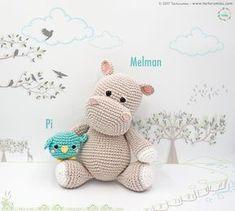 Amigurumi Pattern: The hippopotamus Melman and his friend Pi