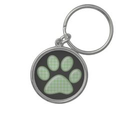 gingham cat paw - green key chains