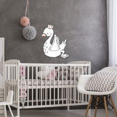 Swan Nursery Decor - Swan Mama and Baby Wall Decal - by Sweet Melody Designs