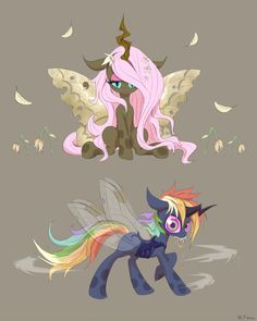 [MLP] Changeling Fluttershy and Rainbow Dash by awsdeMLP