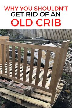 Don't throw away an old cot, check out this creative upcycling project to turn and old crib into a bench for your garden or outdoor patio. Perfect if you are on a budget this repurposed crib is easy and unique. #diy #bench #babycrib Rustic Outdoor Decor, Rustic Patio, Outdoor Rugs, Pallet Patio Furniture, Repurposed Furniture, Old Cribs, Mid Century Modern Dresser, Types Of Furniture, Furniture Repair