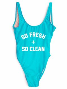 SO FRESH + SO CLEAN One-Piece Slogan Swimsuit