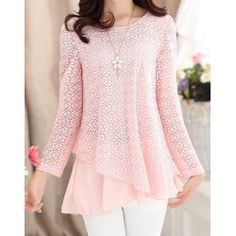 Ladylike scoop neck solid color lace splicing chiffon long sleeve blouse for women in light pink,xl with $19.34 at Twinkledeals.com.