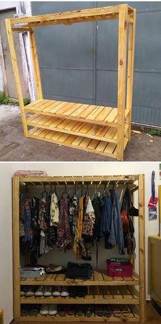 pallet cupboard clothing hanger ideas