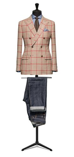 Beige jacket Windowpane red http://www.tailormadelondon.com/shop/tailored-jacket-fabric-7819-check-beige/