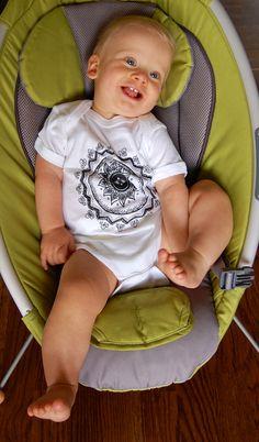 """Baby """"Lotus"""" on a onesie.  He's so cute!"""