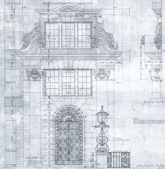 The Massee | 1924 architectural drawing of ddesign and ornamentation for the entrance to The Massee Apartments