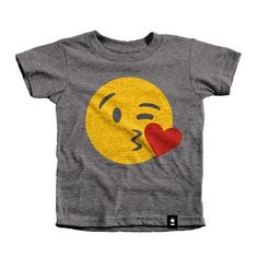 """The Stately Type Kiss Emoji Kids T-shirt features the famous """"Kissy Face"""" emoji (a.k.a. Face Throwing a Kiss, Face Blowing a Kiss, Kissing Face) in yellow, red, and charcoal on a heather gray tri-blend crewneck."""