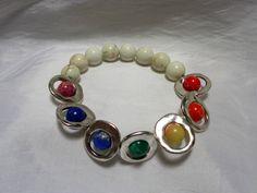 Chakra and White Howlite Stone Beaded Stretch Bracelet by NfntyArt on Etsy