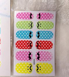 5 Sheet, Adhesive Nail Art Stickers Colorful Polka Dot Moustache Design Nail Wraps Sticker Manicure Styling Tools Acrylic Decals * To view further for this item, visit the image link.