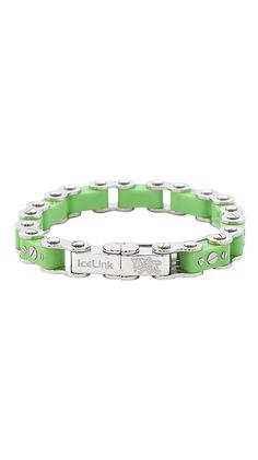 Green Bicycle Bracelet made by IceLink. LuxeYard