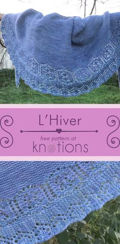 Free knitting pattern for a crescent-shaped shawl starting with garter stitch and ending with a thick lace border at the edge.