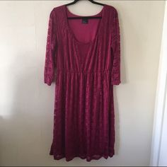 ASOS Curve Lace Fit & Flare Midi Dress Beautiful cranberry color. Lightly worn. No trades no PayPal. ASOS Dresses Midi